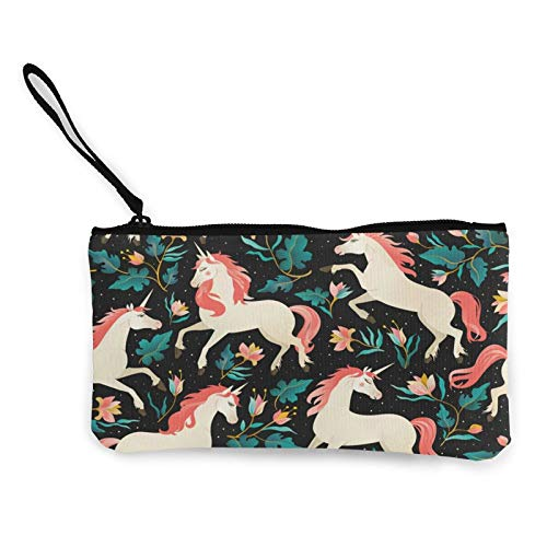 Canvas Coin,Animal with A Fairy Forest Purse Zippered Travel Cosmetics Bag Multi-Function Makeup Bags Cellphone Bag Holder Bags Pencil Packet with Handle