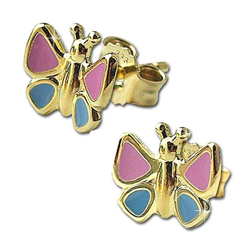 Clever Schmuck Goldene Mädchen Ohrringe als Ohrstecker Schmetterling 7 x 6 mm rosa blau lackiert glänzend 333 GOLD 8 KARAT