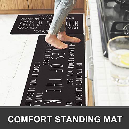 Kitchen Rugs and Mats Anti Fatigue 2 Pieces Kitchen Rug Set Non Slip Waterproof Kitchen Mats for Floor Comfort Kitchen Floor Mat (17.7