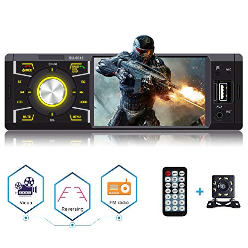Single din Car Stereo with Bluetooth 4.1inch Car Radio for Car MP5 Player Car Stereo with Backup Camera USB/SD/AUX/FM Receiver Wireless Remote Control