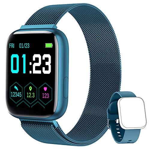 NAIXUES Smartwatch Orologio Fitness Sportivo Donna Uomo Impermeabile Smart Watch Cardiofrequenzimetro Contapassi da Polso Monitor Pressione Sanguigna Activity Tracker Compatibile con Android iOS (Blu)