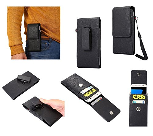 DFVmobile - Magnetic Leather Card Holder Case Belt Clip Rotary 360 for ALLVIEW X3 Soul PRO - Black