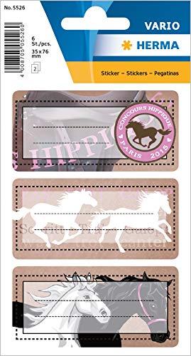 """HERMA 5526 Buchetiketten \""""Pferde\"""" selbstklebende Heftetiketten mit Motiven für die Schule für Kinder, Mädchen und Jungen, 6 Schuletiketten"""
