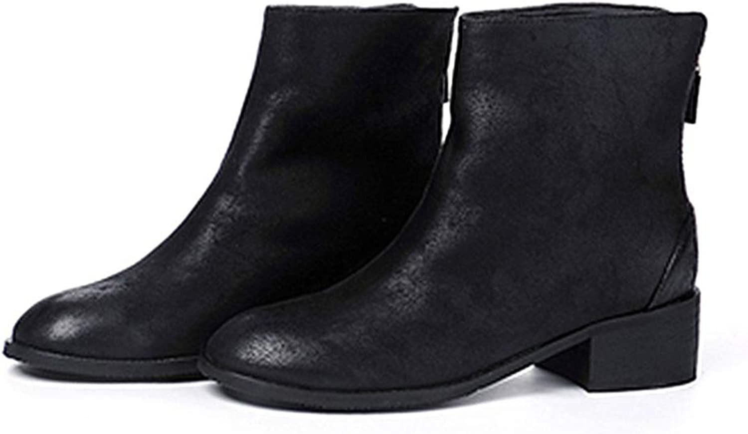 Womens Low Heel Platform Ankle Boots Sexy Round Toe Rubber Sole Short Plush Winter Zipper Up Warm Ladies shoes