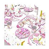 Himeland 90-teilig Einhorn Party-Set Pink Mädchen Einhorn Geburtstag Geschirr Kit für Geburtstagsfeier Kindergeburtstag Baby Shower Party Partygeschirr Teller Becher Strohhalme Tischdecke - 8
