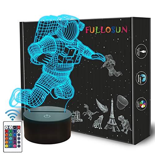 Spaceman 3D Nachtlicht, Astronaut Rocket Optical Illusion Lampe Wohnkultur Schlafzimmer Licht mit Fernbedienung 16 Farben ändern Marvel Xmas Geburtstagsgeschenk für den Weltraum Fan