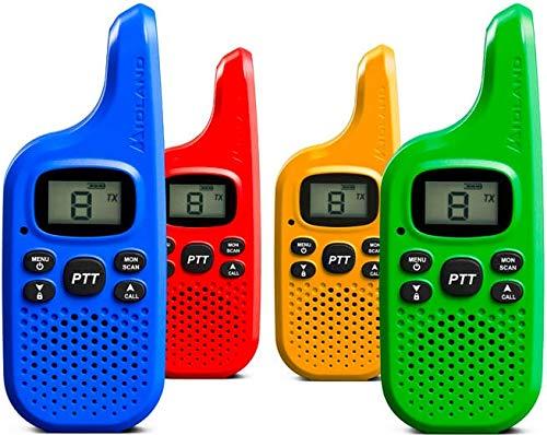 Midland C1425.01 XT5 Radio Ricetrasmittente Walkie Talkie per Famiglie e Bambini 38 Toni CTCSS, Trasmissione Half-Duplex, Raggio 4km, Colori Blu, Giallo, Rosso, Verde - 4 Ricetrasmettitori