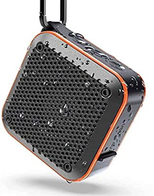 Waterproof Bluetooth Speaker, Shower IPX7 Waterproof Wireless Outdoor Mini Bluetooth Speakers, Bluetooth 5.0, AUX-in TF Card, 12 Hours Playtime, built in mic and 360?? TWS Stereo Sound (525-Orang) by Kiyedam