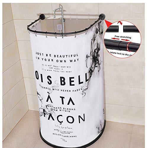 M-TOP zwart hoek douchegordijn staaf verstelbare lente spanning douchestang geen boren roestvast 304 roestvrij staal voor badkamer, bushtub, privé