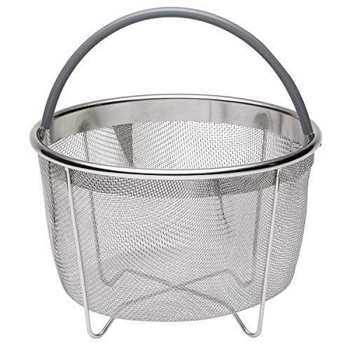 717 Industries Steamer Basket, Stainless Steel Mesh Strainer Compatible with Instant Pot and Other Pressure Cookers, Fits 6 & 8 Quart Pots (Grey Silicone Handle)