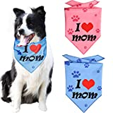 KZHAREEN 2 Pack Mother's Day Dog Bandanas Triangle Bibs Scarf Accessories