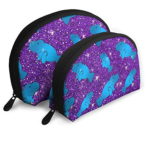 Make-Up Bag Purple Glitter Cute Manatee Travel Makeup Pencil Pen Case Multifunction Storage Portable - 2 Piece Set
