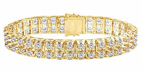Forma rotonda bianco diamante naturale due fila bracciale tennis in oro massiccio 10ct (7.00Cttw)