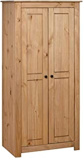 vidaXL Pin Massif Garde-Robe Penderie Armoire de Rangement Stockage Armoire de Vêtements Chambre à Coucher Maison 80x50x17...