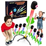 NBPOWER 8 Foam Lighting Rocket Launchers for Kids Reach Up to 100 Feet, Outdoor Air Jump Rocket Toy Gift for Boys and Girls Ages 3 4 5 6 7 8+ Years Old and Up