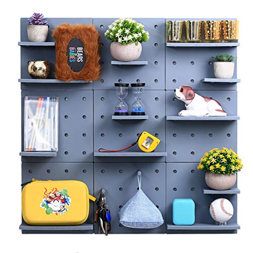 9 PCS 30x30 cm Plastic Pegboard Wall Shelves Mounted Organizer for Decoration No Drilling Easy Assembly (9, grey)