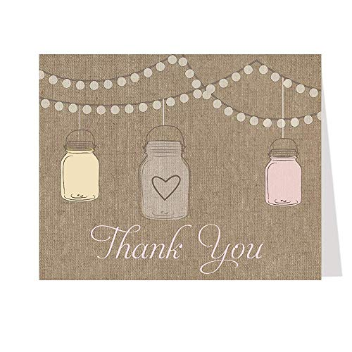 Thank You Cards, Burlap Mason Jar, Pink, Lanterns, Flowers, Bridal Shower Thank You Cards, Baby Shower, Wedding, Country, Rustic, Cottage Chic, Set of 50 Thank You Notes with Envelopes