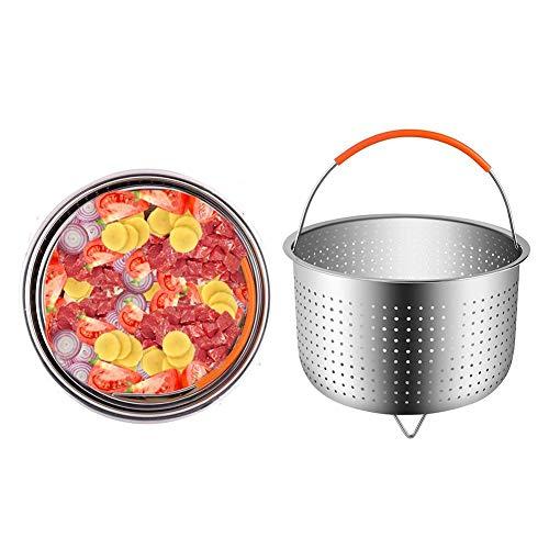 jinclonder Reiskocher aus Edelstahl 304 Dampfkorb Schnellkochtopf Verbrühdampfer Multifunktions-Obstreinigungskorb Größere Kapazität für Gemüse, gekocht