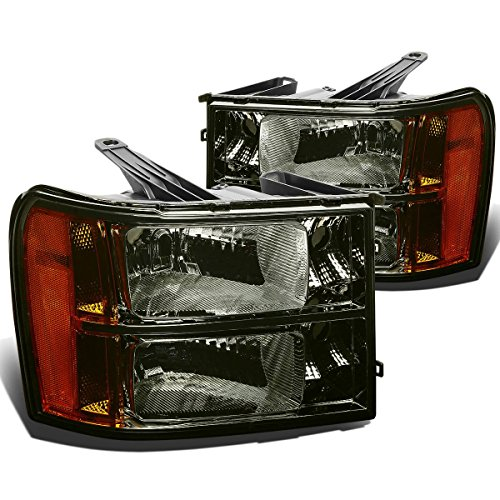 DNA Motoring HL-OH-GMCSIE07-SM-AM Smoke Lens Amber Headlights Replacement For 07-13 Sierra