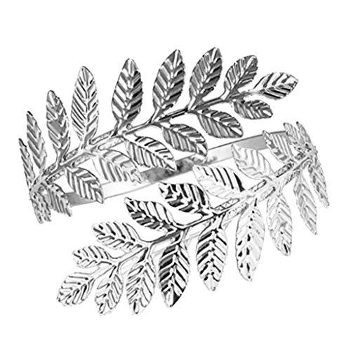 F Fityle Brazalete para Mujer Brazo Brazalete Brazalete Brazalete Brazalete-Rama de Hoja en Espiral - Plata