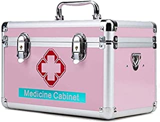AINIYF Medicine Cabinet Household Multi-Layer Pink, Silver with Shoulder Strap First Aid Diagnostic Box Portable (Color : Pink, Size : 12l)