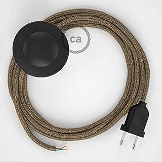 Cordon pour lampadaire, câble RS82 Coton et Lin Naturel Marron 3 m. Choisissez la Couleur de la fiche et de l'interrupteu...