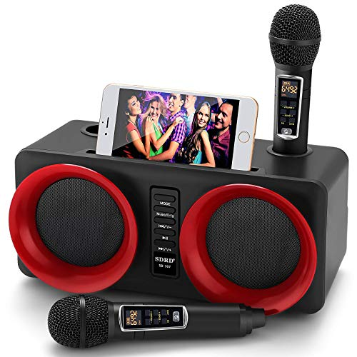 Karaoke Machine, ALPOWL Portable PA Speaker System With 2 Wireless Microphone for Home Party, Meeting, Wedding, Church, Picnic, Outdoor/Indoor [Black]