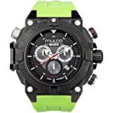 Mulco Buzo Dive Quartz Swiss Chronograph Movement Men's Watch | Premium Analog Display with Steel Accent | Green Watch Band | Water Resistant Stainless Steel Watch |Ion-Plated| MB6-92565-465