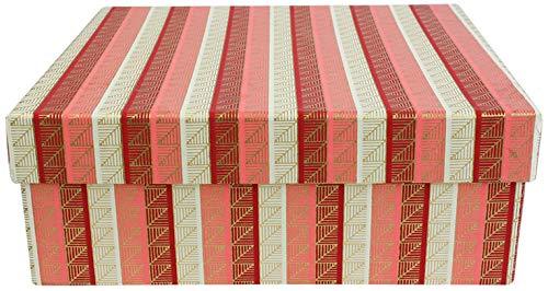 Emartbuy Scatola Regalo In Carta Di Cotone Fatta A Mano, Oro Rosa Rosso, 26,5 x 26,5 x 11 cm