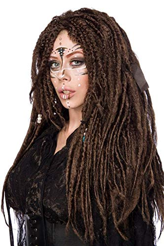 shoperama Hochwertige Langhaar Perücke Dreadlocks Braun lang Voodoo Piratin Hexe Indianer Avatar Hippie