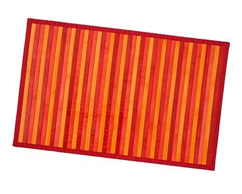 Bambus-Teppich aus Holz, für Küche, Badezimmer, Schlafzimmer, Degradé, verschiedene Größen, Frühstücksbrettchen mit rutschfester Rückseite, Modell Bambus, 50 x 225 cm, Rot