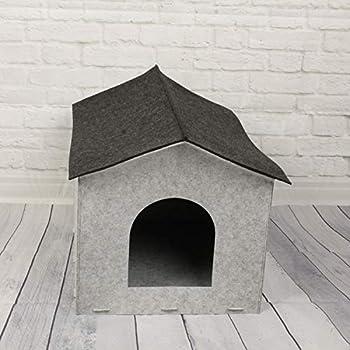 MACOSA CE68147 Maison en Feutre pour Chat et Chien Gris 49 x 40 cm