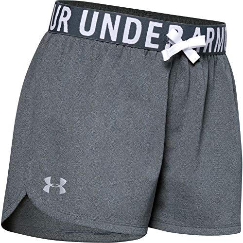 Under Armour Girls' Play Up Solid Workout Gym Shorts , Pitch Gray Light Heather (012)/Metallic Silver , Youth Large