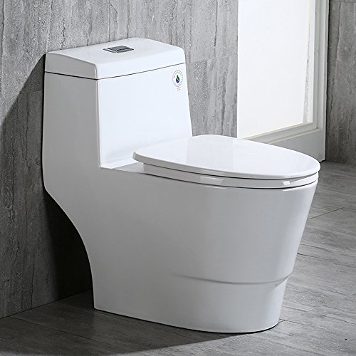 Woodbridgebath Woodbridge Dual Flush Elongated One Piece Toilet with Soft Closing Seat. Comfort Height, Water Sense, High-Efficiency. T-0001 Rectangle Button, White