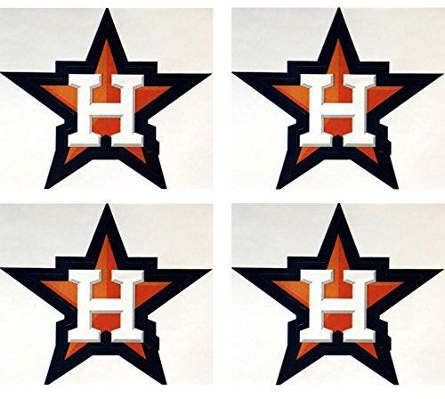 MLB Set of 4 Houston Astros Team Logo Stickers Four Individual Major League Baseball Official Helmet Emblems Texas