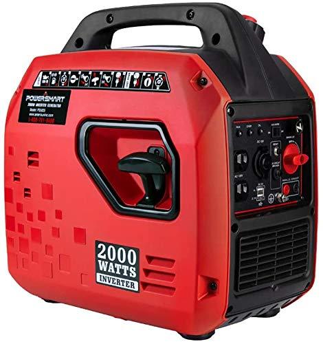 PowerSmart PS5020Super Quiet 2000 watt Portable Inverter Generator,Fuel Shut Off, CARB Compliant Red/Black