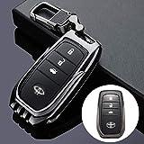 QCTDM Cubierta de la Llave del Coche para para Llavero de aleación de Zinc para Llavero de Coche para Highlander Prado Crown Land Cruiser Prius Vitz Riez RAV4 Camry Smart Key Protect Shell, unconj