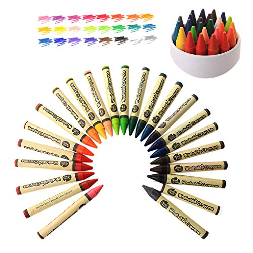 24 Kids Crayons Toddlers Paint eco-Crayons Sticks Toys Child Safety Non-Toxic Washable Fun Markers Coloring Paint Kit Drawing Supplies Preschooler Pastel Kindergarten Art Supplies Wax Pen