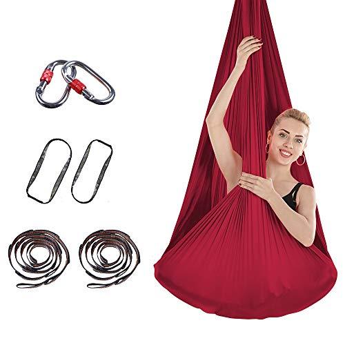 Cloud beauty Aerial Yoga Hängematten, 4m * 2.8m Premium Silk Yoga Schaukel für Antigravity Yoga, Inversionsübungen, Verbesserte Flexibilität & Kernfestigkeit - Montagezubehör Inklusive (Weinrot)
