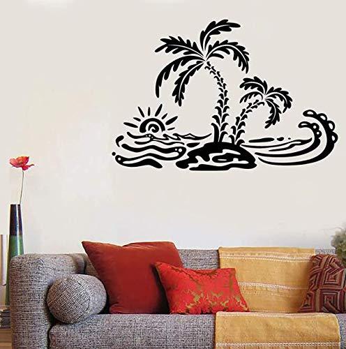 Etiqueta de la pared del estilo de la playa Verano Palm Island Ocean Waves Art Vinilo Etiqueta de la ventana Adolescentes Dormitorio Baño Decoración de la casa Papel tapiz 62 * 42Cm