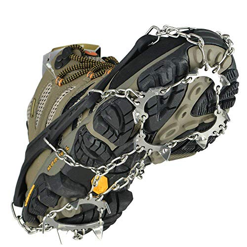 Uelfbaby Crampons 13 Spikes Ice Snow Grips Traction Cleats System Safe Protect for Walking, Jogging, or Hiking on Snow and Ice