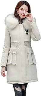 Women's Winter Coat Ladies Outdoor Coat Slim Winter Coat Long Hooded Winter Windproof Warm (Color : White, Size : 3XL)