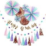 YOU+ 誕生日 飾り付け ガーランド 男の子 女の子 セット 飾り ペーパー バースデー HAPPY BIRTHDAY お洒落 かわいい (ローズ)
