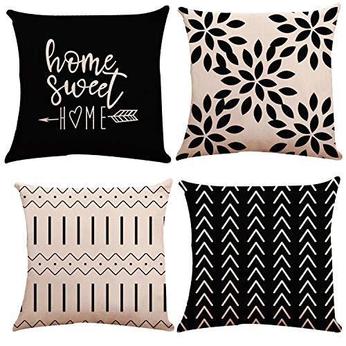 YCOLL Pillow Covers 18x18 Set of 4, Modern Sofa Throw Pillow Cover, Decorative Outdoor Linen Fabric Pillow Case for Couch Bed Car 45x45cm (Black, 18x18,Set of 4)