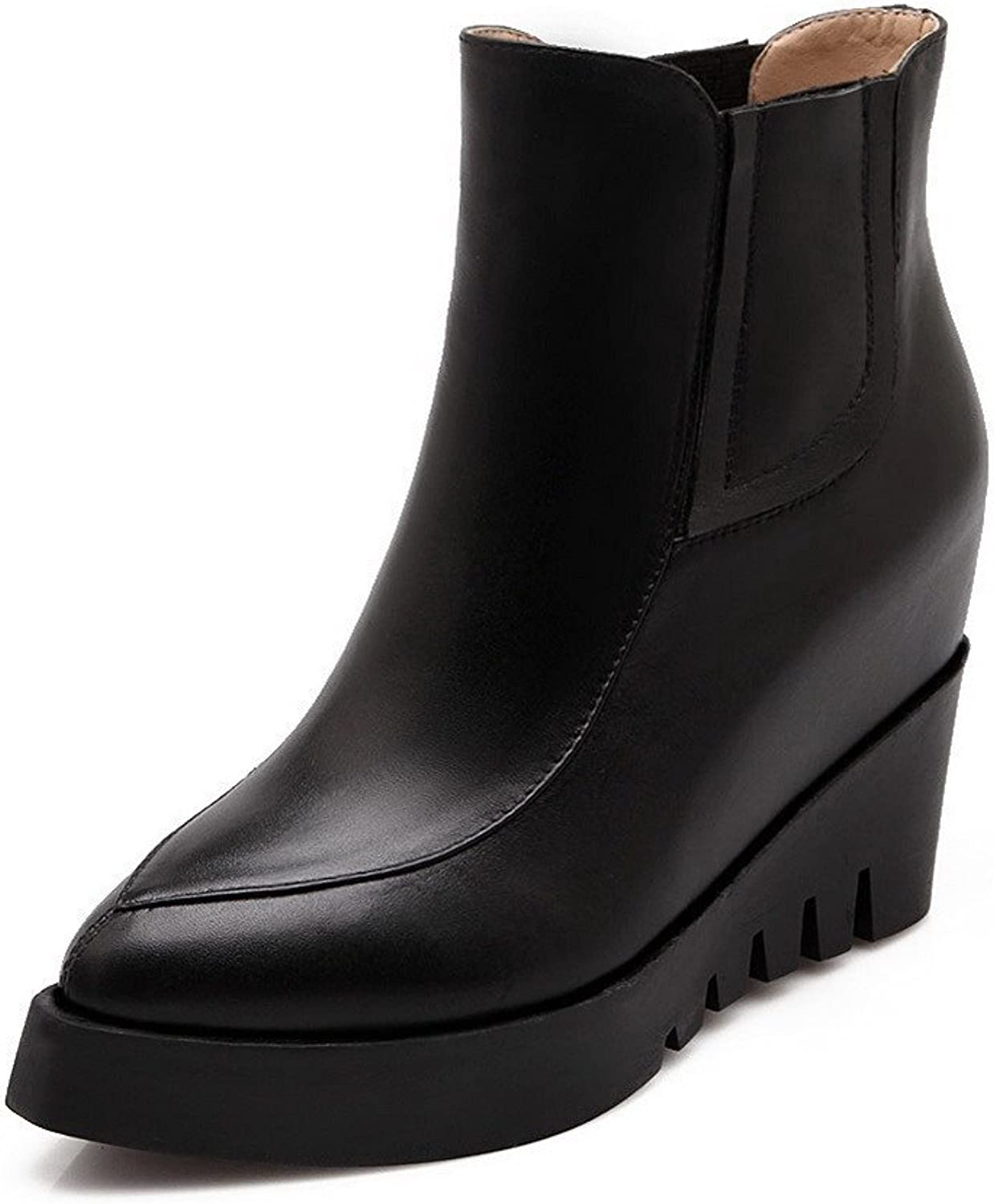 WeenFashion Women's Pointed Closed Toe Cow Leather Elastic High-Heels Low-top Boots