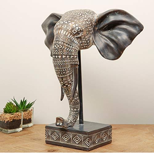 Maisonica Máscara de Elefante Tallada con Efecto de Madera Estilo Africano, 32 cm