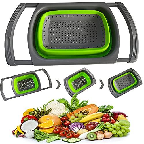 KDWOA Scolapasta Pieghevole in Silicone, Cesto con Maniglie Estensibile, Cestello Pieghevole per La Pulizia di Frutta e Verdura, Materiale per Uso Alimentare-Verde