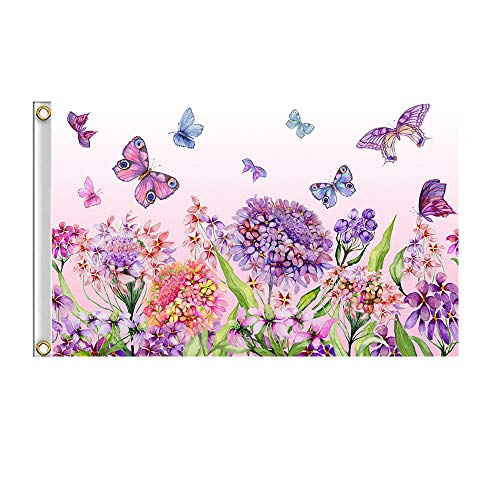 Shmbada Welcome Spring Summer Flowers Butterflies Flag with Brass Grommets, Double Stitched Vivid Color Anti Fading, Outdoor Indoor Porch Patio Seasonal Decoration, 3x5 Ft