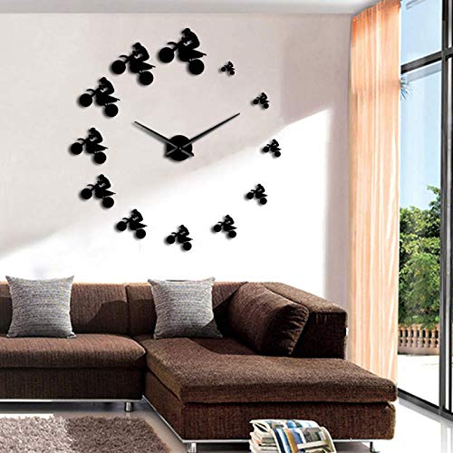N / A YSEQP Bike Riders DIY Large Wall Clock Extreme Sport Aerial Dirt Motorcycle Mountain Bike Luxury Wall Clock Watch Modern Design 47inch (Black)