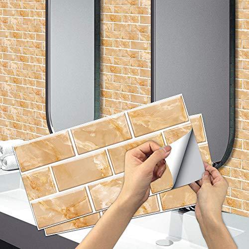 6 Piezas Pegatinas de Azulejos para Baño 30x15cm Amarillo Pegatinas de Baldosas Adhesivas Vinilos para Cocina Rectangular Patrón de Ladrillo Retro Pegatinas de decorativo de Muebles